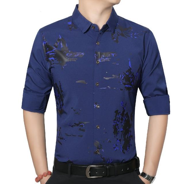 8894716103054 Ropa de 2019 del resorte nuevos hombres Camisa moda Casual impresión flor  Camisa Social Masculina algodón
