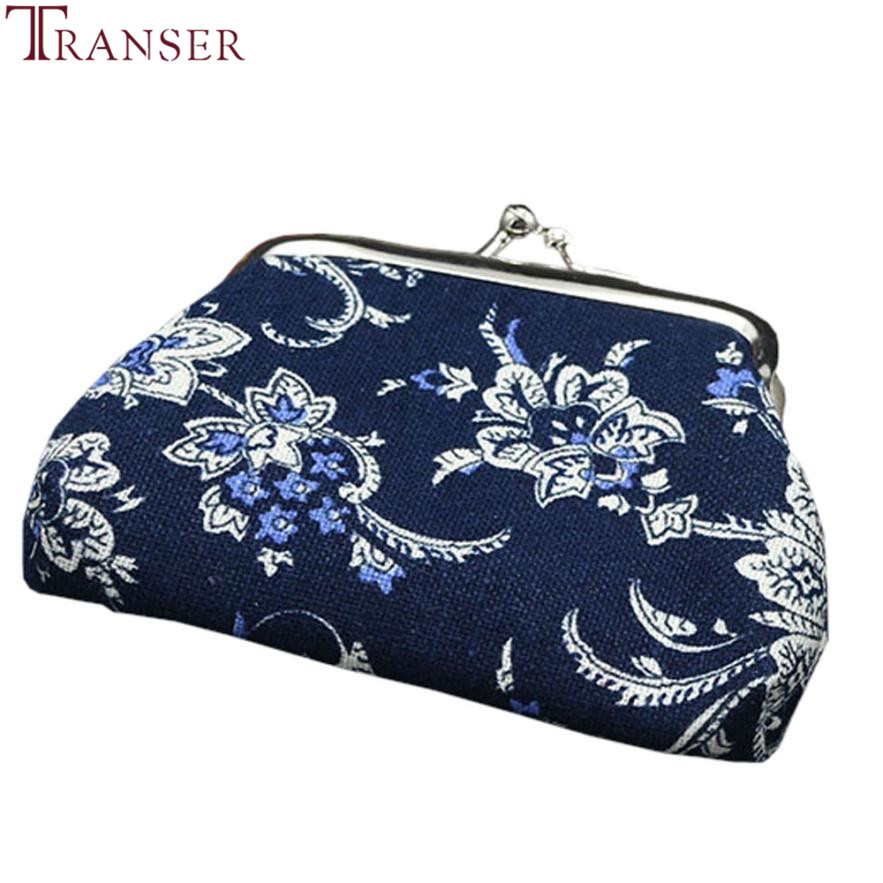 Transer Women Lady Fashion Retro Vintage Flower printing Small Wallet Hasp Purse Clutch Bag wholesale drop shipping wu3