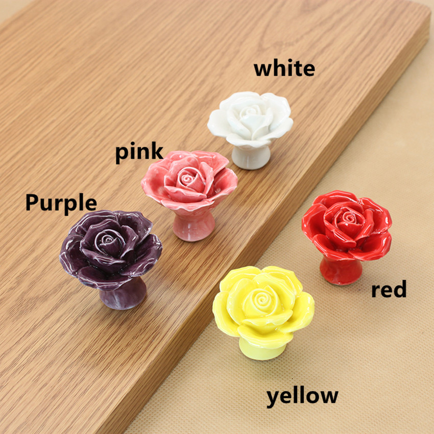 creative fashion rural rose ceramic knobs yellow red pink purple flower porcelain drawer cabinet dresser knobs pulls handles