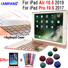 360 Degree Rotable 7 Colors Backlit Wireless Bluetooth Keyboard Smart Case Cover for Apple iPad Air 10.5 2019 iPad Pro 10.5 2017