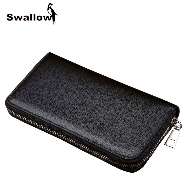 SWALLOW Business Men Wallets Famous Brand Fashion Purse Men Leather Witch Card Holder Solid Zipper Long Male Wallet Phone Pocket