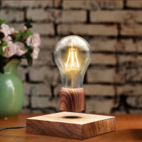 Wood Magnetic Levitating Floating Lamp Light Bulb Desk Grain Unique Gift Home Office Room Small Night Light Decoration 2018 New