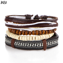 JINSE Bohemia Style Handmade Multilayer Valentines Leather Bracelets for Man Embroidery & Bangles MPS010