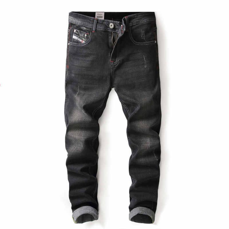 Черный Цвет модные обтягивающие джинсы стрейч Повседневное брюки большой Размеры 29-40 Брендовая Дизайнерская обувь классические джинсы Для мужчин Одежда высшего качества Рваные джинсы