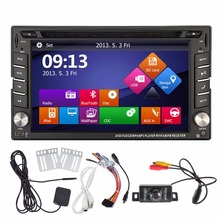 Free Camera+Double 2 din In dash Car Radio Stereo GPS Navigation Bluetooth DVD CD MP3 MP5 mp4 Video Player PC Head Unit iPod AUX