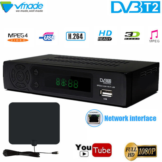 DVB טלוויזיה תיבת DVB T2 8939 מלא HD 1080 P דיגיטלי יבשתי מקלט DVB T2 MPEG 4 H.264 תמיכה MEGOGO Youtube PVR עם אנטנת טלוויזיה