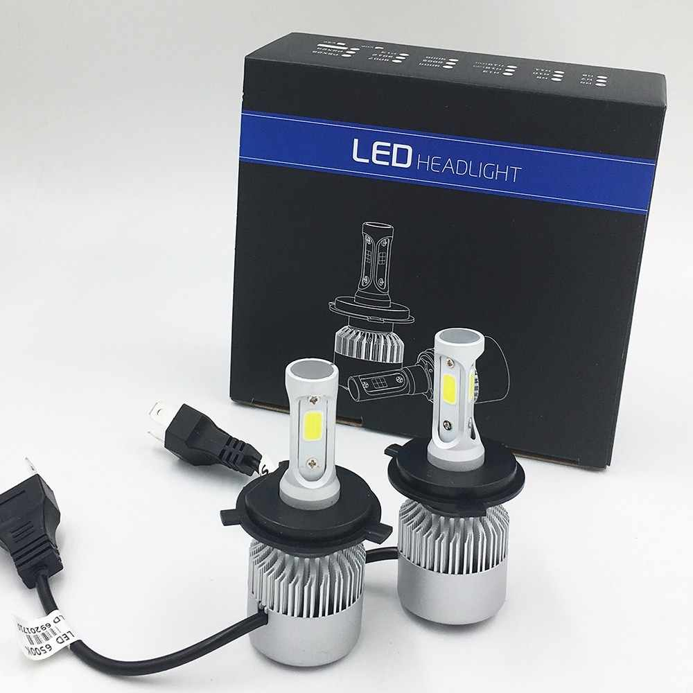 2X S2 H4 COB LED  Car Hi-Lo Headlight Bulb Beam 72W 8000LM 6500K WHITE LIGHT Auto Headlamp 12v 24v