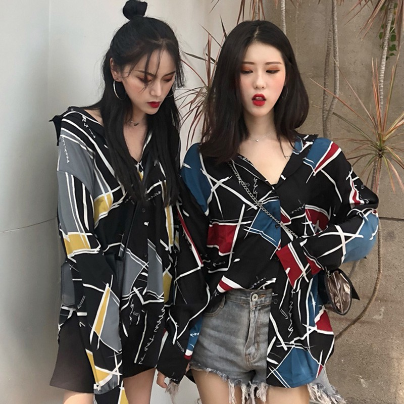 Korean Style Color Block Geometric Printed   Blouse   Button Turn-down Collar Long Sleeve Women's Chiffon   Blouse     Shirt