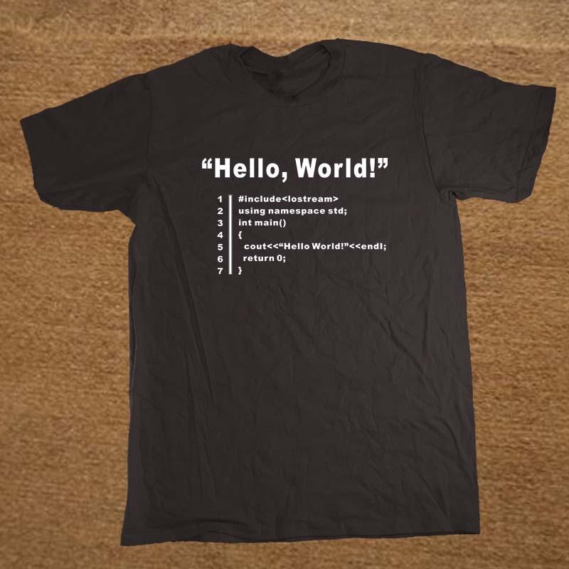 HELLO WORLD Geek Team Programmer Unisex Funny   T     Shirt   Tshirt Men Cotton Short Sleeve   T  -  shirt   Top Tees