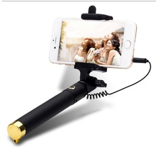 Foldable Mini Self Stick Wired Tripod Monopod Selfie Stick Cable Extendable Built in Shutter Stick For