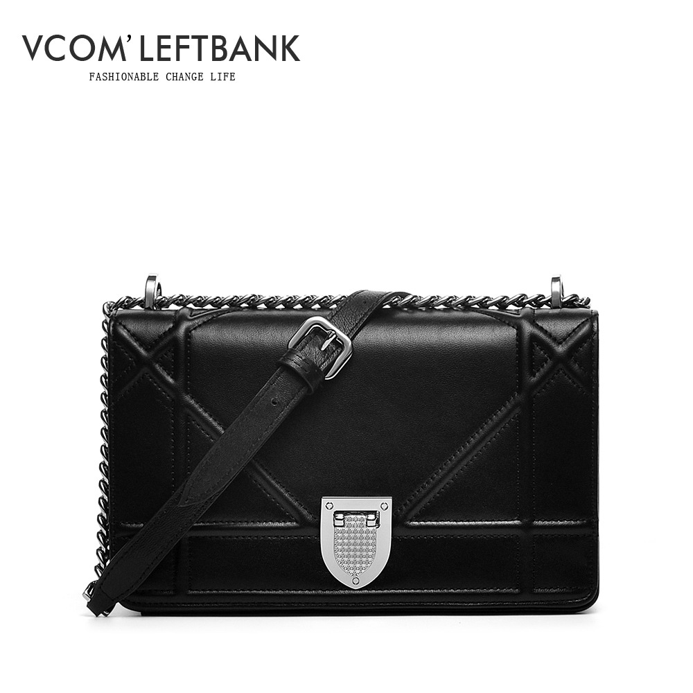 ФОТО woman bags famous brand genuine leather handbags high quality chain plaid trunk shoulder crossbody bag black hasp clutch H03