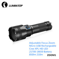 LuminTop ZOOM1 Micro USB Rechargeable Adjustable Focus Zoom Flashlight Cree XPL HD LED Hiking Mountaineering 21700 18650 Torch