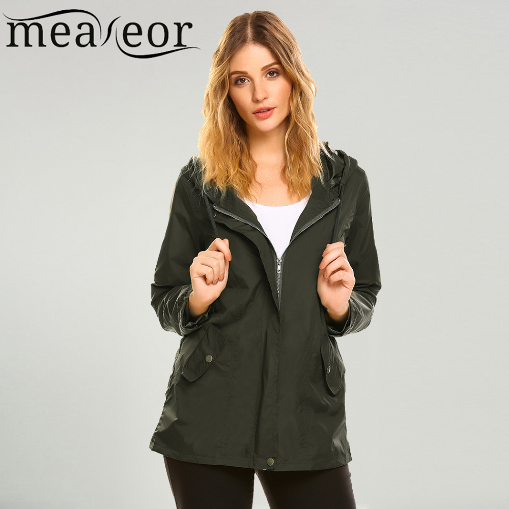 Meaneor Womens Jacket hoodie Lightweight Drawstring Hooded Zip Up Solid Pockets Button Slim Casual Jackets Windbreaker 2017 New