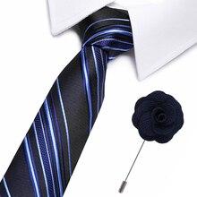 Fashion Striped Tie Men's Striped Ties brooch set 7.5cm Necktie Black Neck Tie For Formal Business Groom Wedding Party Accessory