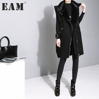 EAM 2018 New Spring Lapel Sleeveless Solid Color Black Loose Zipper Long Warm Vest Women