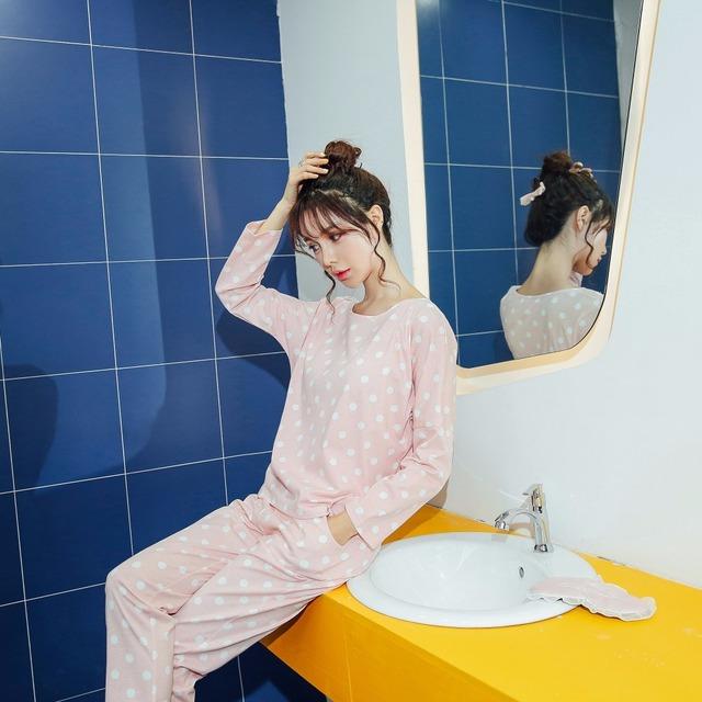 Big Yards M-XXL Women Pajamas Sets 100% Cotton Nightwear Spring Autumn Long Sleeve Pyjamas O-Neck Sleepwear Female Pijamas Mujer