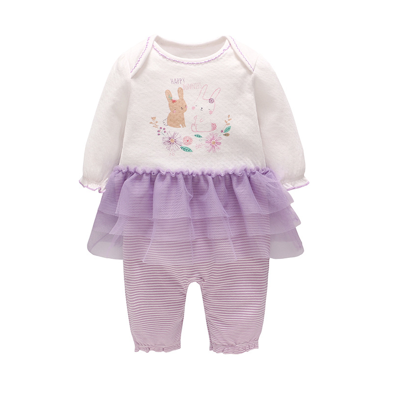 Picturesque Childhood Girl's Romper 2018 Autumn New Flower Rabbit Web Lace Skirt White and Purple Patchworks Girl Romper