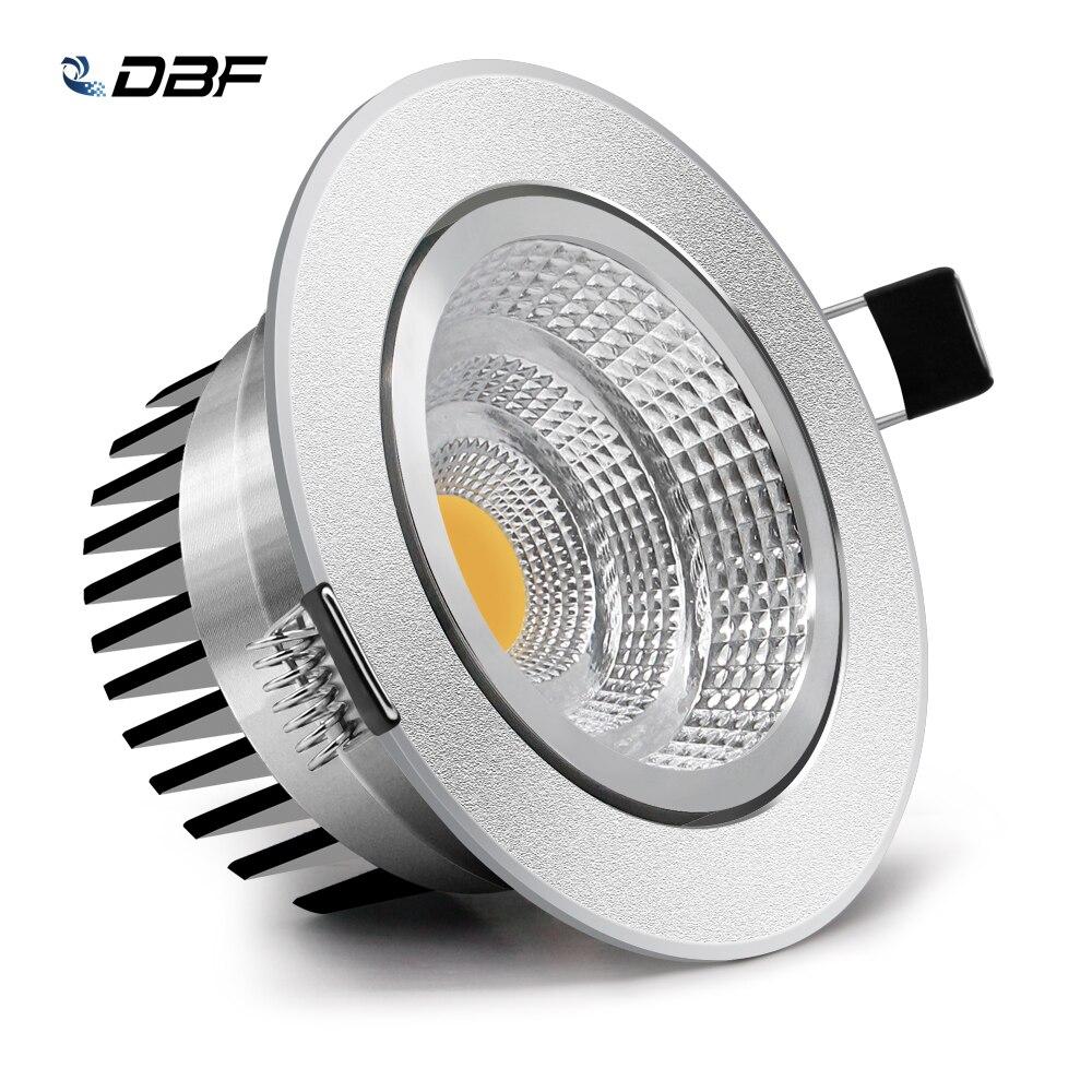 [DBF] z regulowanym kątem ściemniania cob led typu Downlight 6W 9W 12W 18W wbudowana lampa sufitowa AC110V 220V Downlight światło punktowe Home Decor
