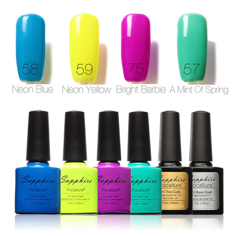 FOCALLURE UV LED Gel Nail Polish Soak Off Color Nail Art Kit Gift ...