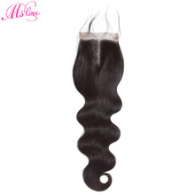 Ariel 4*4 Lace Closure Brazilian Human Hair Body Wave 8-20 Inch Natural Color Non- Remy Hair Weaving 1PC/Lot Free Shipping(China)
