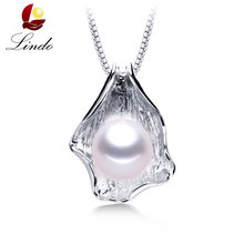 Big 10-11mm White Natural Freshwater Pearl Pendant Necklace Women Fashion 925 Sterling Silver Jewelry High Quality Shell Pendant(China)