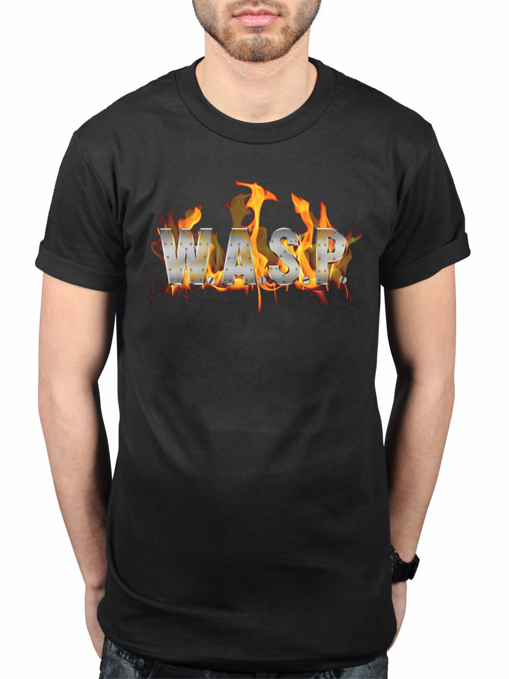 Official W.A.S.P. World Domination T-Shirt Heavy Metal Band I Wanna Be Somebody Mens 100% Cotton Short Sleeve Print