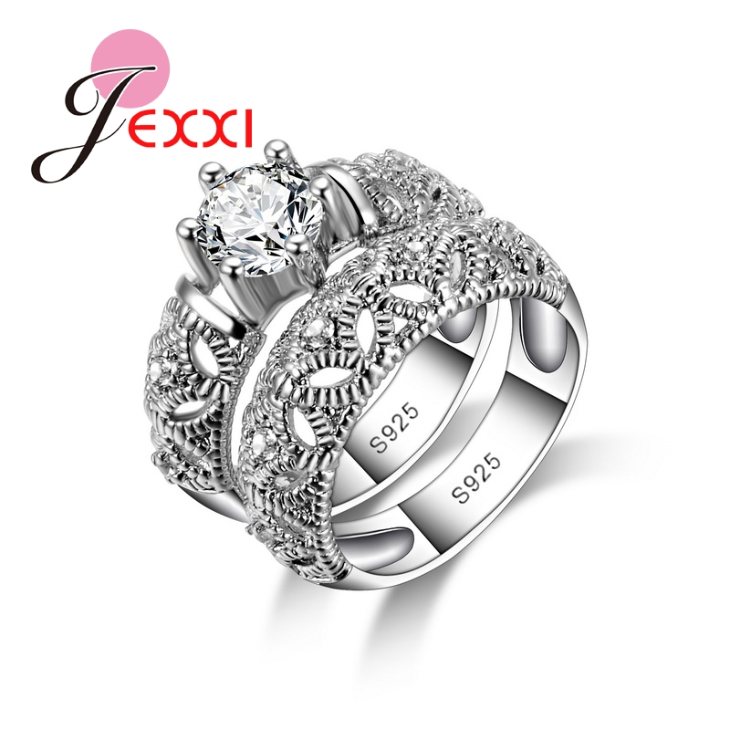 Fashion 925 Sterling Silver Rings for Women Anniversary Love Ring White Gold Hollow Engagement Female Ring Sets Jewelry(China)