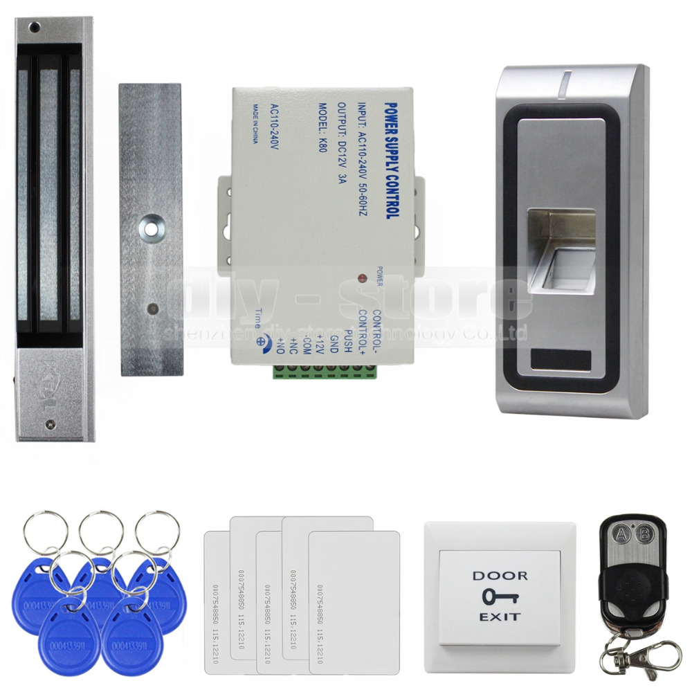 DIYSECUR Fingerprint 125KHz RFID Card Reader Metal Case Door Access Control System Kit + 280kg Magnetic Lock + Remote Control diy full tcp ip fingerprint access control system fingerprint door access control with rfid card reader md131 magnetic lock