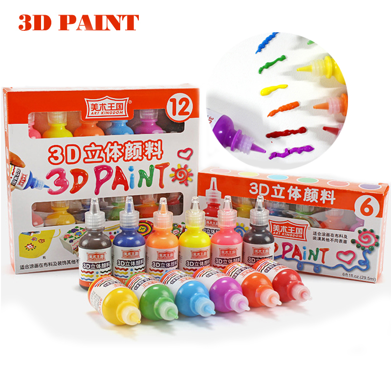 6 Colors 3D Acrylic paint set for painting fabric paint for textile clothing glass Ceramic Graffiti wood Art supplies for kids 8 12 24 colors acrylic medium tip paint markers set of 24 colors for rock art glass painting ceramic porcelain metal wood fabric