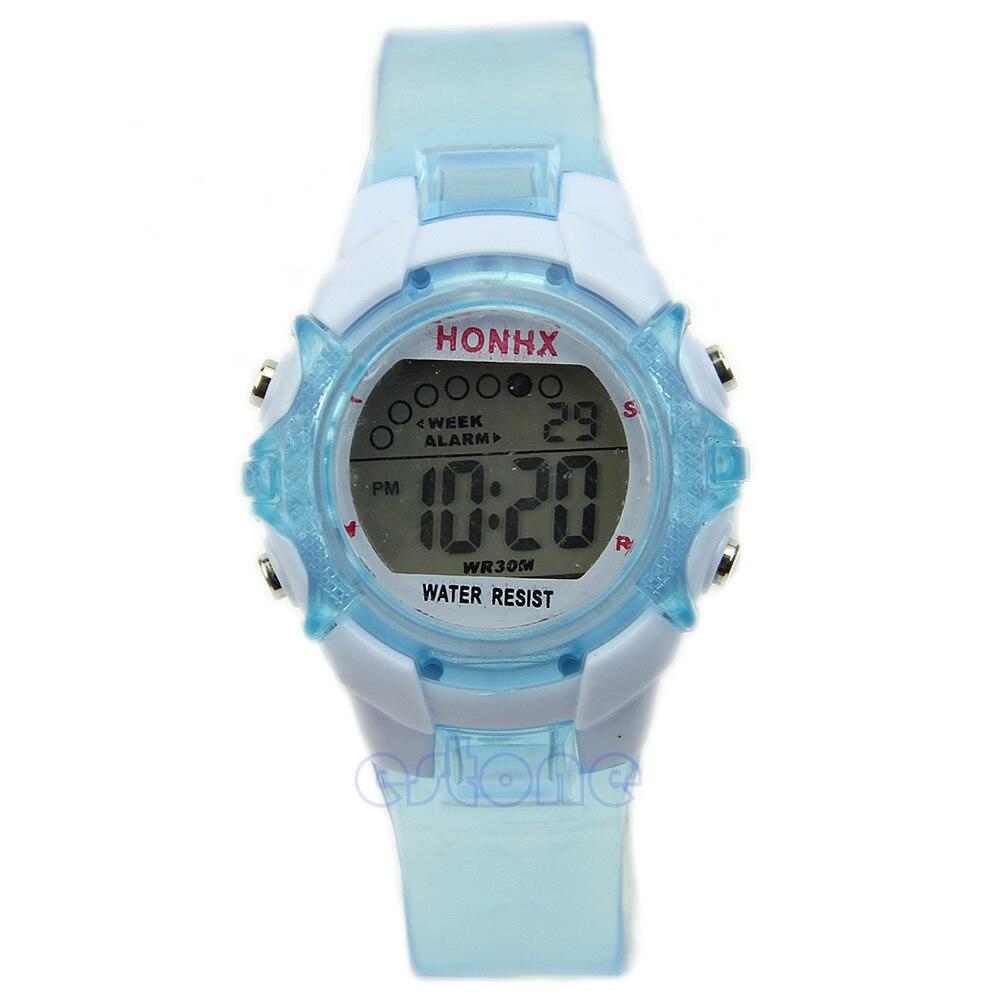 Водостойкие универсальные спортивные электронные цифровые наручные часы для детей мальчиков и девочек