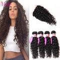 Peruvian Water Wave Virgin Hair With Closure 4 Bundles 8a Unprocessed Peruvian Curly Hair With Closure Ocean Wave Hair Bundles