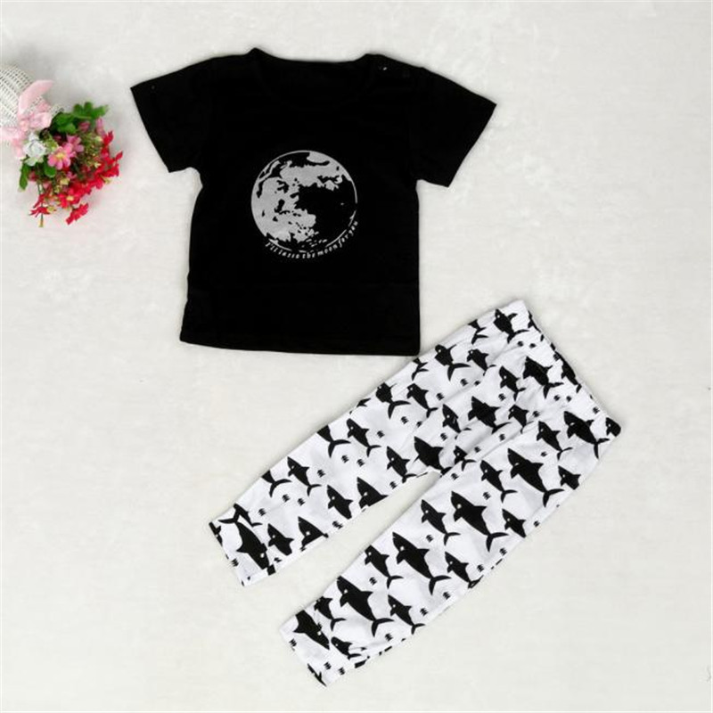 Children Clothing 1Set Infant Toddler Baby Boys Earth Print T-shirt Tops+Pants Outfits Clothes Girls Clothes 2017