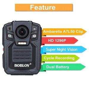 Image 2 - BOBLOV HD66 02 Ambarella A7L50 policja kamera do noszenia przy ciele 64GB HD 1296P rejestrator wideo + pasek na ramię