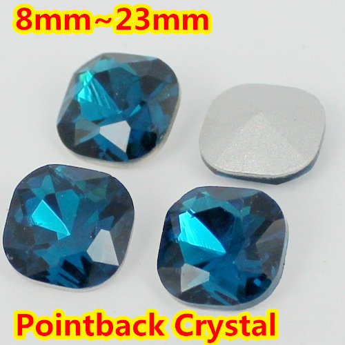 Blue Zircin Square Shape Crystal Fancy Stone Point Back Glass Stone For DIY Jewelry Accessory.8mm 10mm 12mm 14mm 18mm 23mm mini fancy 4pcs crystal skull transparent glass cup
