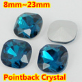 Blue Zircin Square Shape Crystal Fancy Stone Point Back Glass Stone For DIY Jewelry Accessory.8mm 10mm 12mm 14mm 18mm 23mm