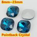 Azul Zircin Forma Quadrada de Cristal Extravagante Stone Point Voltar Vidro Accessory.8mm de Pedra Para A Jóia DIY 10mm 12mm 14mm 18mm 23mm