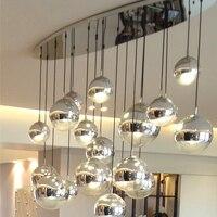 Nordic Glass Pendant Lights Globe Gold Sliver Hanglamp LED light Fixtures For Living Room Kitchen Lustre Ball Pendant Lamps