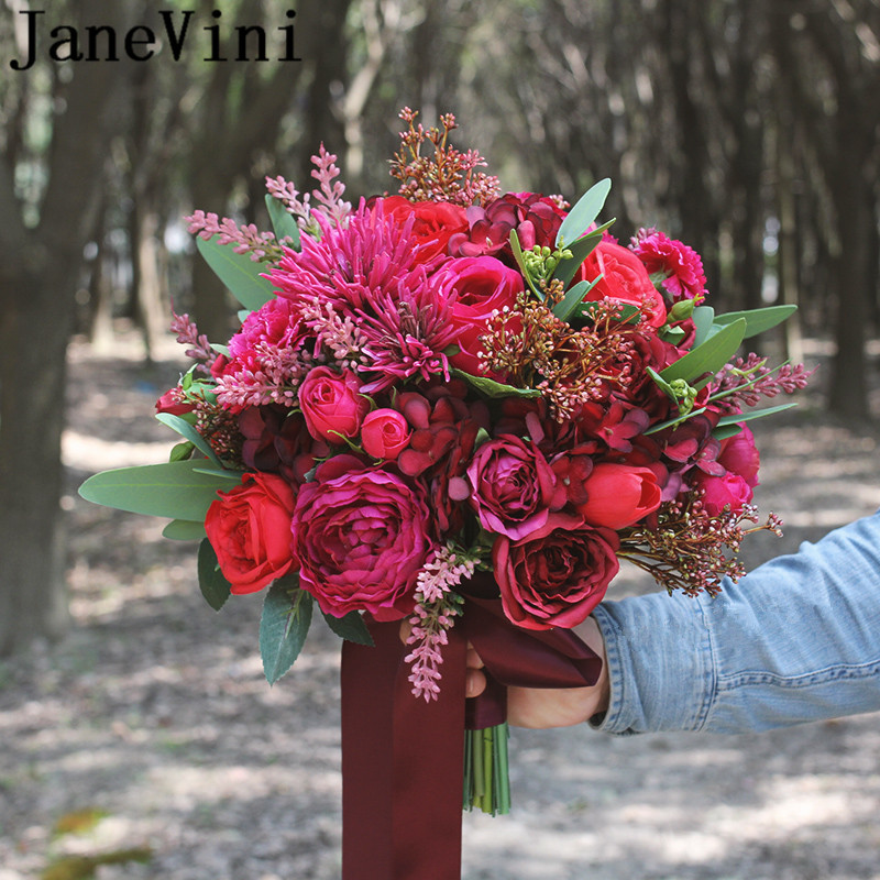 JaneVini artificielle Roses rouges Mariage Bouquet Mariage Rose Fuchsia soie mariée Bouquets ruban Western Mariage mariée fleurs nouveau