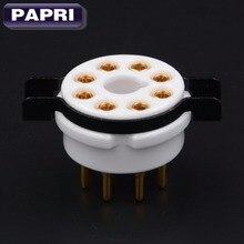 10PCS High Quality Ceramic K8A Tube Sockets Base 8pin Gold Plate Brass Pin Audio DIY Amp For KT66 KT88 6SL7 6SN7 6V6 274B 350B