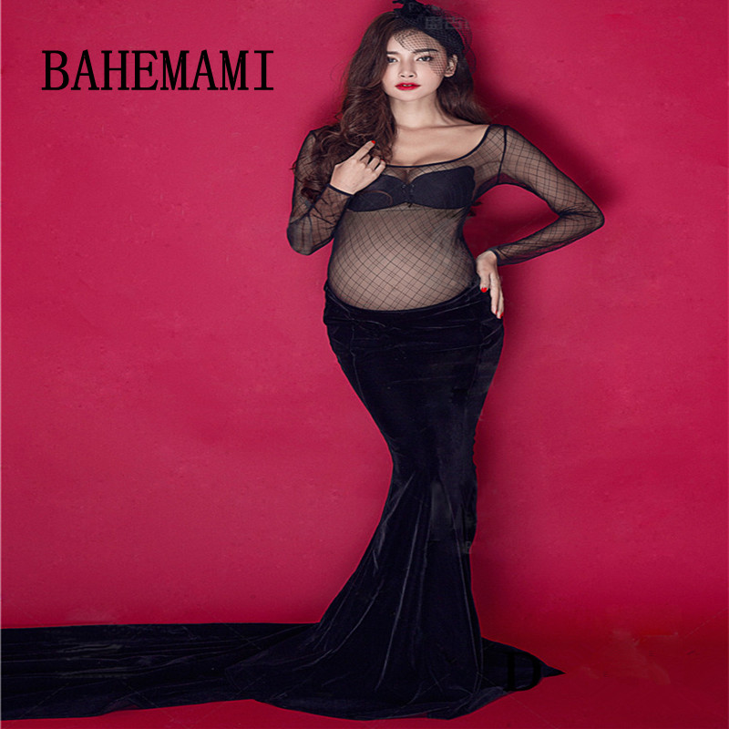 BAHEMAMI lace Maternity Photography Props Clothes For Pregnant Women V-Neck Dress Stitching Pregnancy Clothing 2018 new dresses