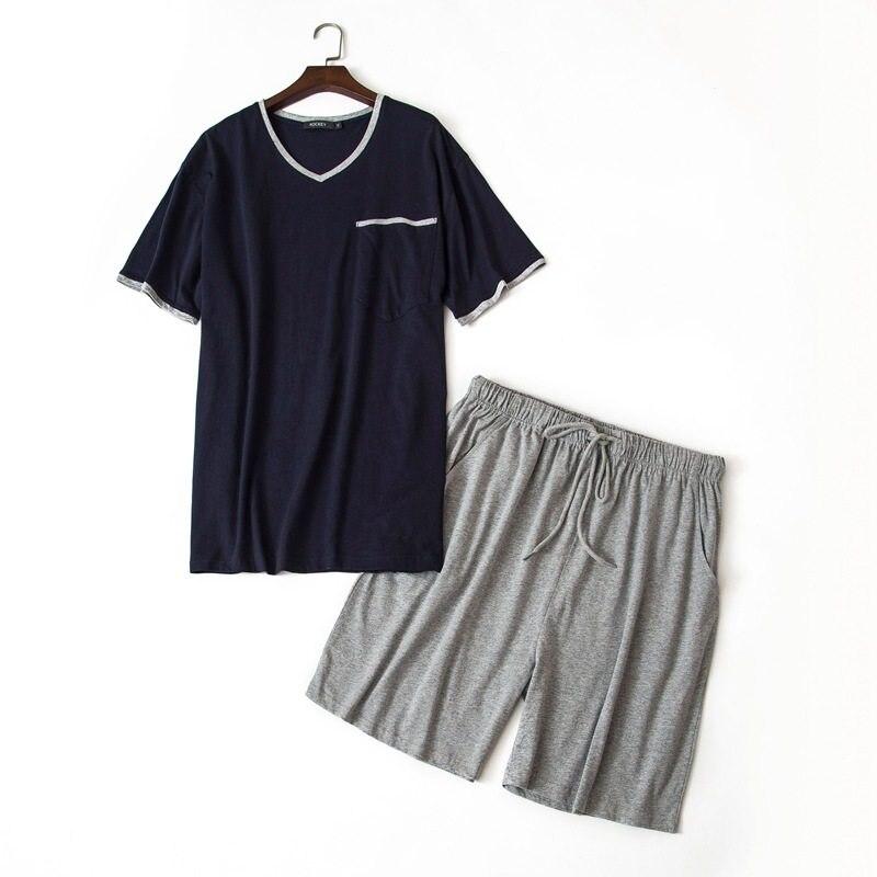 Men's Pajama Sets Men's Sleep & Lounge 2019 Summer Plus Size Two-piece Pijama Men Casual Pajama Sets 100% Cotton Sleepwear Suit Male V-neck Collar T Shirt & Half Pants