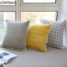 LOVRTRAVEL Modern Sofa Cushion Cover Yellow Cotton Linen Decorative Throw Pillow Cover Plaid Geometry Printed Home Decor 45x45cm