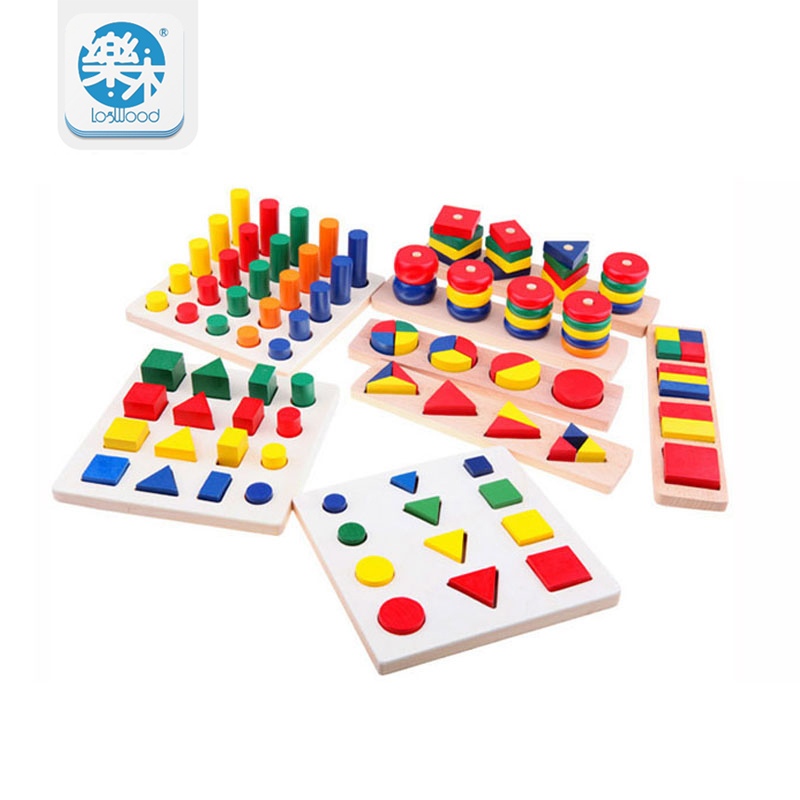 Hot Sale Intellectual Geometry Toys for Children Montessori Early Educational Building Wooden Block Interesting Kids Toys baby educational wooden toys for children building blocks wood 3 4 5 6 years kids montessori twenty six english letters animal