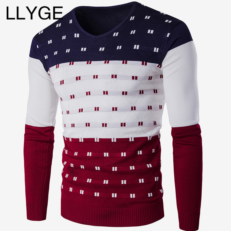LLYGE Men Long Sleeve V-Neck Patchwork Sweater Spell Color Warm Knitted Pullover Men Slim Fit 2019 Spring Casual Sweaters Tops