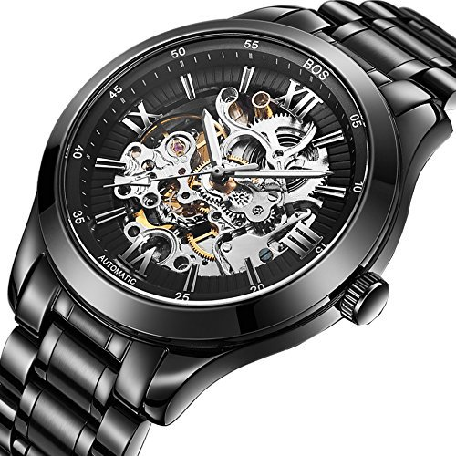 angela bos men s automatic mechanical luminous skeleton black dial angela bos men s automatic mechanical luminous skeleton black dial stainless steel band bracelet watch 9008 express shipping in mechanical watches from