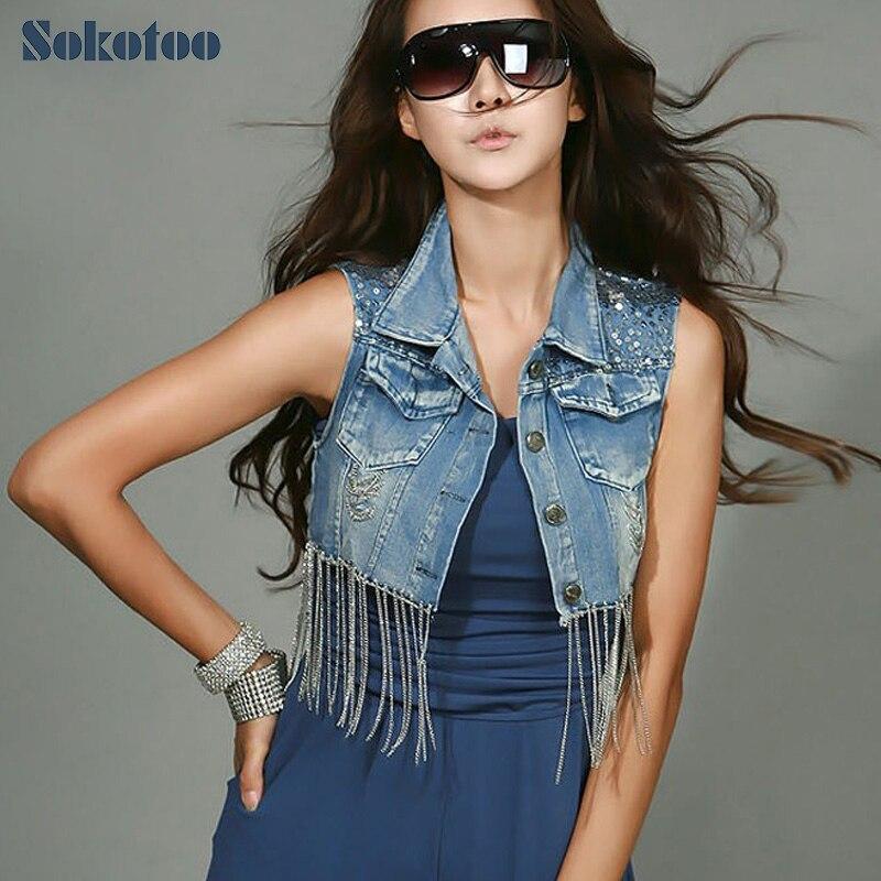 SOKOTOO Jeans' Store Sokotoo Summer fashion short design denim outerwear handmade distressed chain paillette women's denim vest Free shipping
