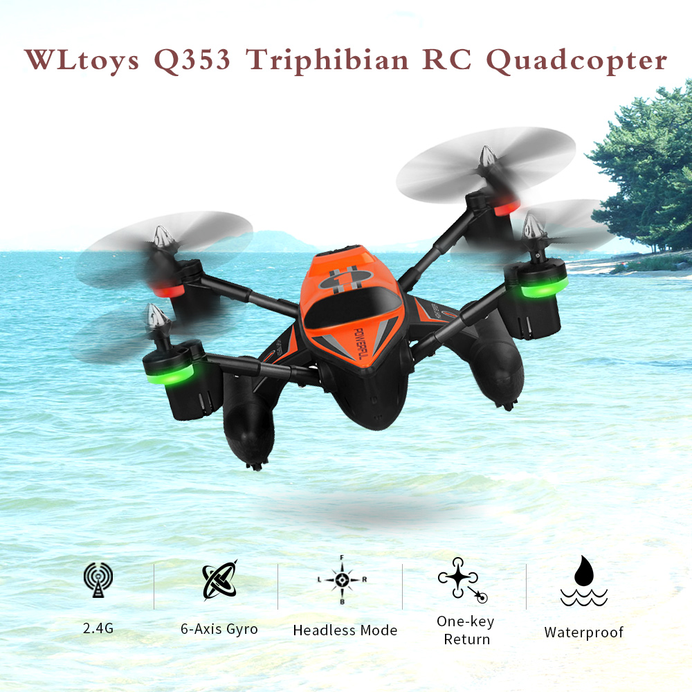 Original WLtoys Q353 Triphibian 2.4G 6-Axis Gyro Air-Ground-Water RC Quadcopter Headless Mode RTF Drone wltoys q353 aeroamphibious rc drone air land sea mode 3 in 1 waterproof headless mode 2 4g led quadcopter headless mode toys rtf