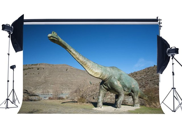 Dinosaur Backdrop Jurassic Period Nature Landscape Mountain Blue Sky Cartoon Photography Background