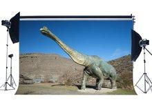 Fondo de dinosaurio período Jurásico paisaje de naturaleza montaña cielo azul dibujos animados fondo de fotografía