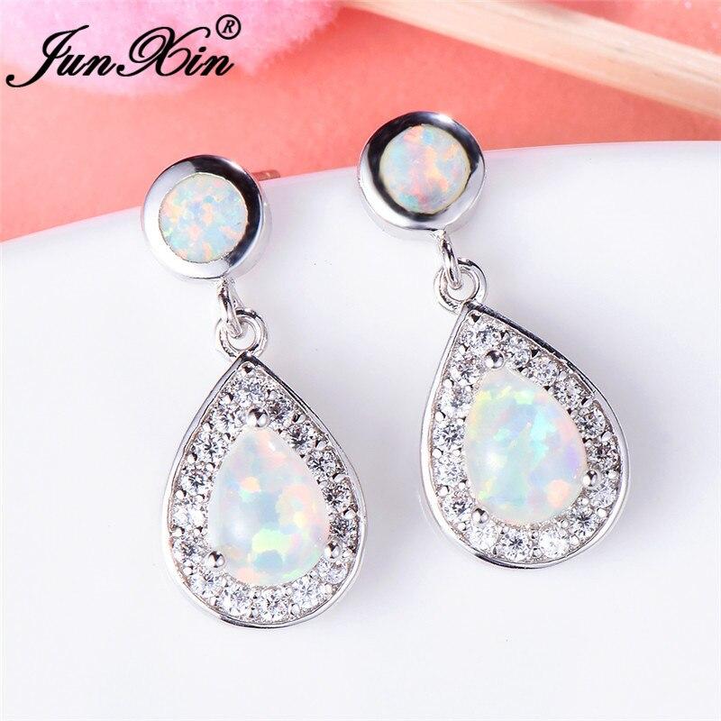 JUNXIN Silver Color Luxury Drop Earrings For Women Teardrop Zircon White/Blue Fire Opal Birthstone Dangle Earrings